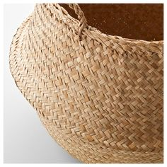 IKEA - FLÅDIS, Basket, seagrass, This braided basket has a unique look since each basket is handmade. You can choose how you want to use this basket – turned up with handles or turned down to display the contents. Ikea Basket, Plant Basket, Basket Weaving, Hand Weaving, Ikea Plants, Belly Basket, Ikea Family, Gras, Finding Nemo