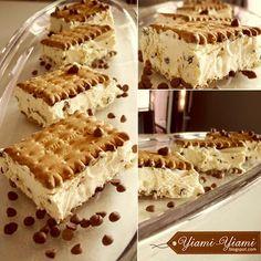 "YIAMI-YIAMI: ""Πουά"" σαντουιτσάκια με παγωτό καραμέλα! Greek Desserts, Frozen Desserts, Summer Desserts, Pastry Recipes, Sweets Recipes, Yummy Treats, Delicious Desserts, Frozen Yoghurt, Ice Cream Recipes"