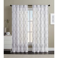 OVERSTOCK EXCLUSIVE VCNY Dixon Embroidered Sheer Curtain Panel Pair