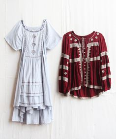 Peasant style scarlet long sleeve blouse (over skinny jeans please) and white layered peasant maidenly dress