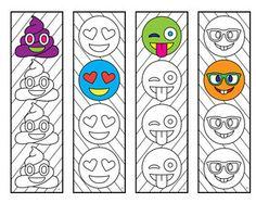 Emoji Bookmarks - PDF Zentangle Coloring Page