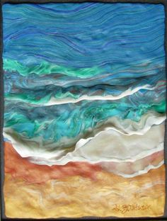 Taking inspiration from my love of beach life and the shore, I developed this rolling wave technique in several of my polymer clay jewelry pieces first exhibited in September 2010 at the Killingworth Library. The process of painting with clay requires an artist to be open to the clay itself. The design of the wave is established, but the detail and the movement is dictated by the spontaneous color mixing process. No two will ever be alike. I will continue to explore this subject and process in …