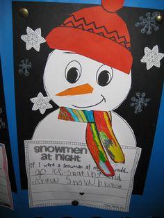 Classroom Fun: snowmen at night Snow Activities, Kindergarten Activities, Writing Activities, Holiday Activities, Writing Ideas, Preschool Ideas, Teaching Ideas, Winter Crafts For Kids, Winter Fun