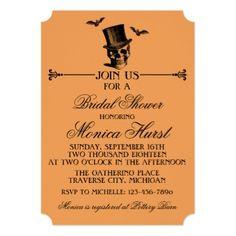 Wicked Halloween Chevron Orange Bridal Shower Card - Halloween happyhalloween festival party holiday