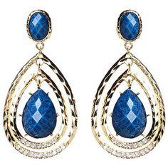 Amrita Singh Blue Lapis & Austrian Crystal Catriona Drop Earrings