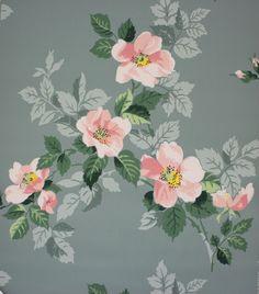 1950's Vintage Wallpaper Pink Magnolia on Blue Gray