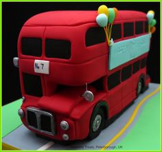 Double decker bus - old london route master - Cake by Heavenly Treats by Lulu Birthday Bbq, 3rd Birthday Cakes, Baby Boy Birthday, Second Birthday Ideas, Fabulous Birthday, London Bus, Old London, Bus Cake, Big Red Bus