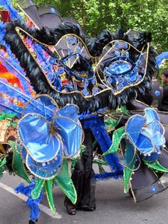 Notting Hill Carnival costume in London  Bank Holiday Weekend