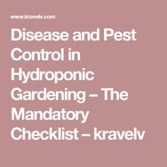 Disease and Pest Control in Hydroponic Gardening – The Mandatory Checklist – kravelv