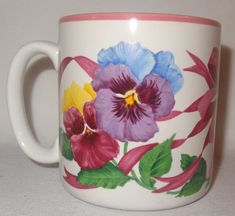 Pansy Mug Coffee Cup 1992 Flowers Inc. Pink Blue Purple Floral 12 oz #FlowersInc
