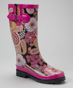 Take a look at this Western Chief Pink & Orange Paisley Rain Boot on zulily today!