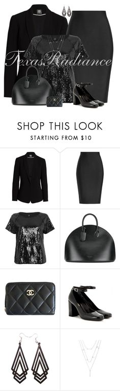 """""""All Black Contest"""" by texasradiance ❤ liked on Polyvore featuring Vince Camuto, Roland Mouret, River Island, Calvin Klein 205W39NYC, Chanel, Yves Saint Laurent and allblack"""