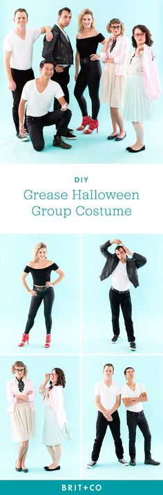 recreate the classic movie grease with this diy halloween group costume that includes everyone in the