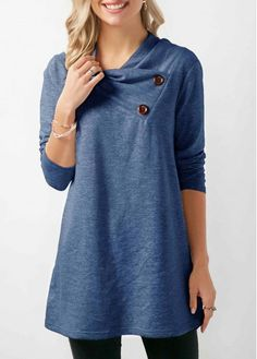 564a095349 Long Sleeve Button Detail Cowl Neck Blue Sweatshirt on sale only US 33.17  now
