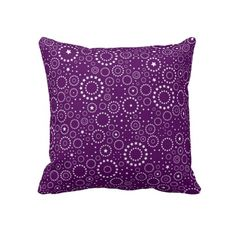 This purple pillow features white circle star designs. If you have a purple and white bedroom or living area this stunning pillow would look amazing. This purple and white throw pillow is. Purple Pillows, White Throw Pillows, Decorative Throw Pillows, Purple Home Decor, Purple Bedrooms, All Things Purple, Purple Fashion, Star Designs, Purple Style