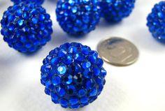 Rhinestone Beads Big Resin Balls Blue Sparkling Crystal 20mm 12. $6.25