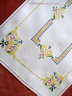 3 Vintage Italian Placemats Embroidered with Punto Quadro