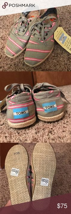 Grey and pink striped toms Brand new, never worn before. Super cute! Toms Shoes