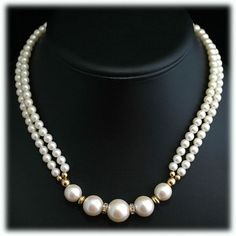 Faux Pearl and Rhinestone Elegant Double Strand Necklace.