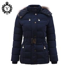 78044e20638 COUTUDI New Arrival Winter Jacket Women Slim Thick Warm Stylish Jacket Coats  Lady With Fur Hooded Belt High Quality Down Jackets