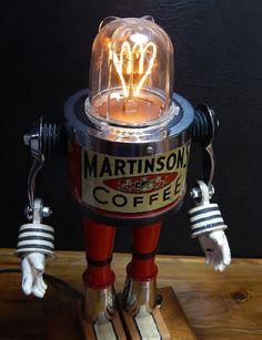 Martinson - Robot Art - Assemblage - Coffee - Steampunk - Science fiction - Tinkerbots - Dan Jones - Unique lamps - Red - stripes