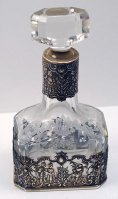 Antique Vintage Etched Glass Perfume Scent Bottle