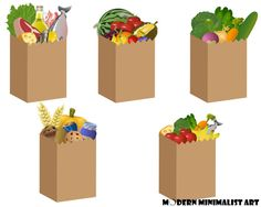 vector child carrying a grocery bag full of food recipe shopping rh pinterest com cute grocery bag clipart paper grocery bag clipart