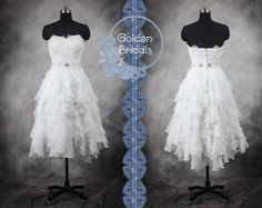 To go well with my boots??  Sweetheart Lace Top Soft Ruffled short tea by GoldenBridalsDresses, $179.00