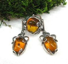 USSR vintage jewelry set Natural Baltic Amber ring earrings in fancy silverwork gift for wife mom girlfriend genuine amber jewelry by SanaGem on Etsy