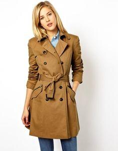 ASOS Classic Mac. The perfect trench coat. Young, classic, dark tan color, details