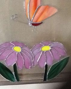 Stained glass Flower with butterfly - hanging on screen - Nancy Marquis