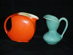 Vintage USA Pottery Miniatures Creamers Orange and by parkie2, $24.00