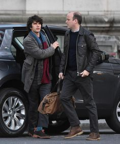 Ben Whishaw on location with Rory Kinnear. Filming for James Bond 'SPECTRE' took place near Admiralty Arch in London - United Kingdom - Sunday 31st May 2015
