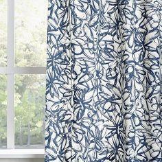 Cotton Canvas Graffiti Print Curtain - Blue Lagoon   west elm