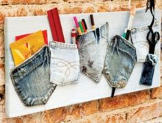 What can you make out of jean pockets?  On her window with the fabric she picked out behind???!!!