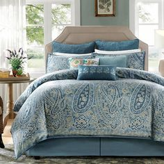 Refresh your master suite or guest room with this lovely comforter set, showcasing a paisley motif for eye-catching appeal.  Product...