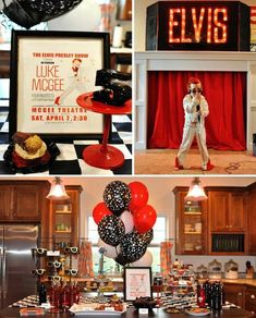 Elvis Party with Lots of Fun Ideas via Kara's Party Ideas for mom! Elvis Presley's Birthday, Happy Birthday, Adult Birthday Party, Birthday Ideas, 80th Birthday, Grandpa Birthday, Birthday Crafts, Birthday Quotes, 50th Party