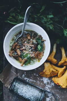 Chanterelle and Lentil Soup