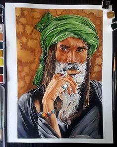 #malang #sufi #green #turban #yellow #watercolor #watercolour #drawing #art #suluboya #resim #malangsufi