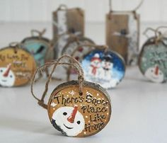 Christmas Ornament Snowman Wood Slice by LindaFehlenGallery by pam
