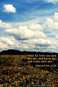 Only by love can men see me, and know me, and come unto me.    Bhagavad Gita