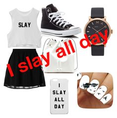 """""""I slay"""" by iamtaylor6 ❤ liked on Polyvore featuring even&odd, Converse, Sole Society and Marc Jacobs"""