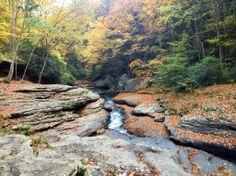 Natural Rock Slides, Meadow Run, Ohiopyle State Park - PA  Depending on water levels, you may find kids sliding, or kayakers flying down the creek.  www.wilderness-voyageurs.com #naturalwaterslides #ohiopylestatepark