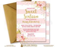 SWEET SIXTEEN INVITATION Pink Stripe Birthday Peonies Blush Pink & Gold Glitter Confetti Printable Invite Rose Free Shipping or DiY by digibuddhaPaperie