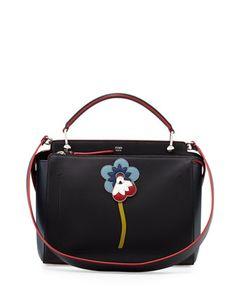 DOTCOM Flower Medium Leather Satchel Bag d6f5e15fb12cc
