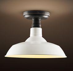 RH's Vintage Barn Flushmount:A reproduction of an enamel pendant that& Cottage Lighting, Home Lighting, Office Lighting, Lighting Ideas, Outdoor Lighting, Kitchen Sink Lighting, I Love Lamp, Wall Lights, Ceiling Lights