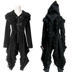 Goth Vampire Male | Black Gothic Vampire Hooded Long Jacket Hoodies Clothing Men Women SKU