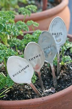 eclectic gardening tools by Etsy - These would be perfect for the table-top herb garden