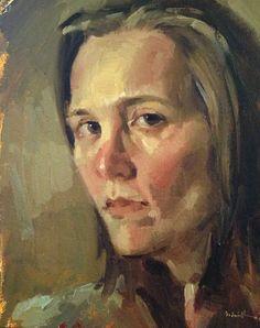 "Fine art oil painting ""Brown Eyes"" 8x10 inch original by Oregon artist Sarah Sedwick"