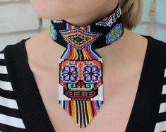 Beautiful Mexican Sugar Skull Choker Necklace, Huichol Necklace, Ethnic Sugar Skull Necklace, Choker, Seed Bead Necklace